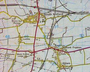 Monk Fryston map