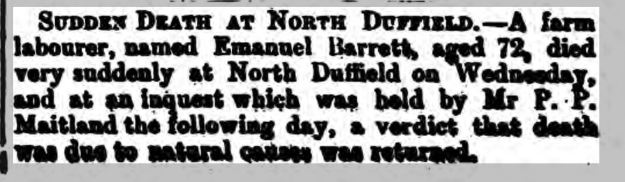 Emanuel Barrett 5 June 1886 The Yorkshire Gazette